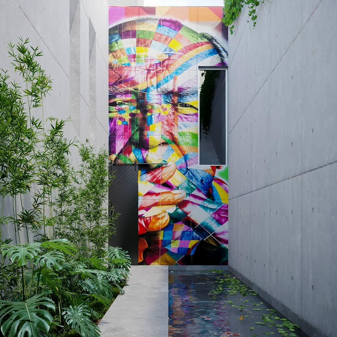 Graffiti dans un jardin contemporain