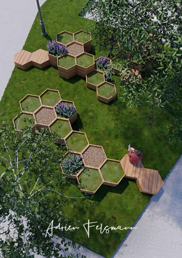 Vue 3D du potager modulaire présenté au Festival Annecy Paysages